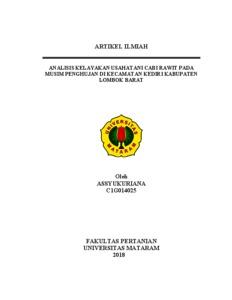 Analisis Kelayakan Usahatani Cabi Rawit Pada Musim Penghujan Di Kecamatan Kediri Kabupaten Lombok Barat Repository Unram